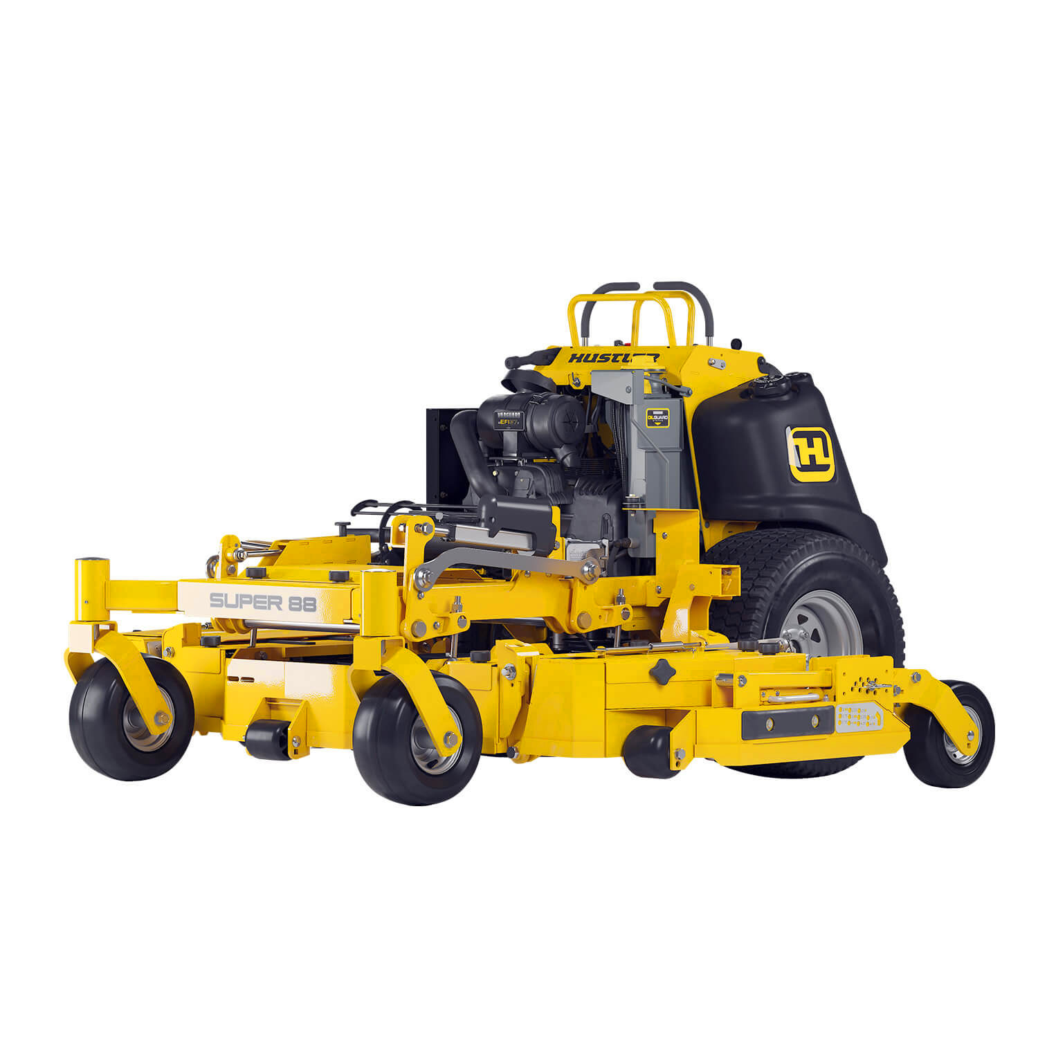Image of the profile of a yellow stand-on mower