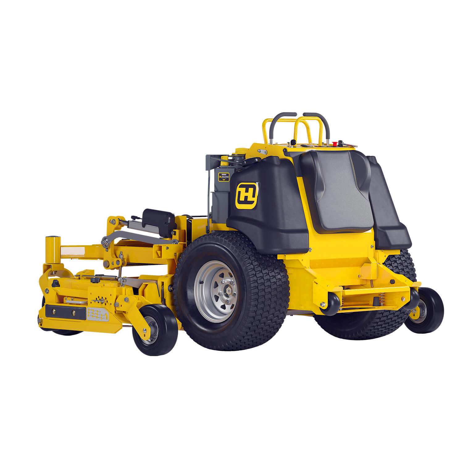 Image of the rear three quarters of a yellow stand-on mower