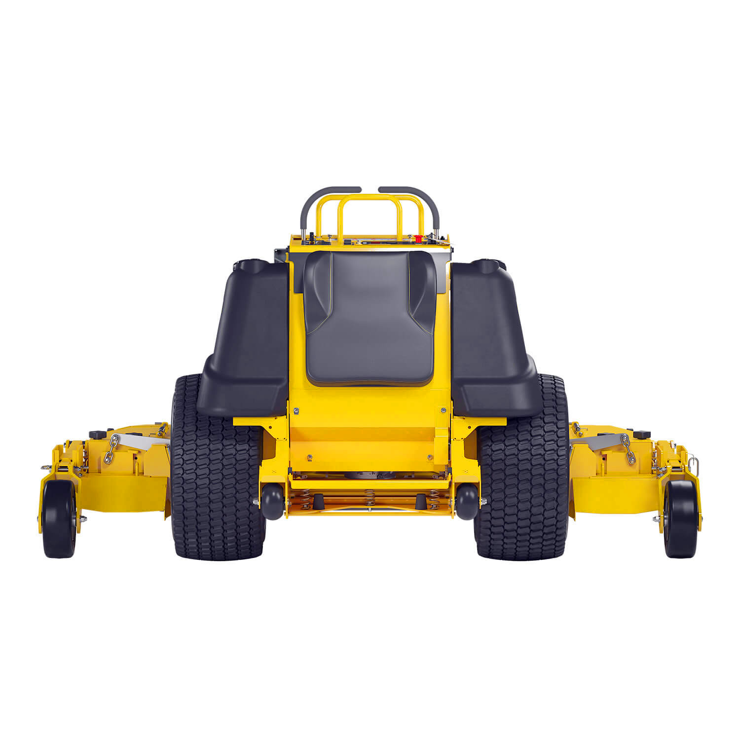 Image of the rear of a yellow stand-on mower