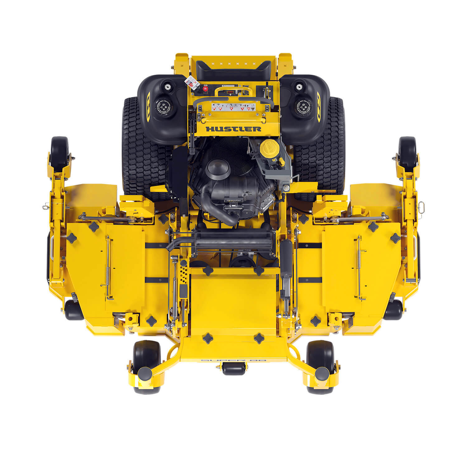Image of a yellow stand-on mower seen from above