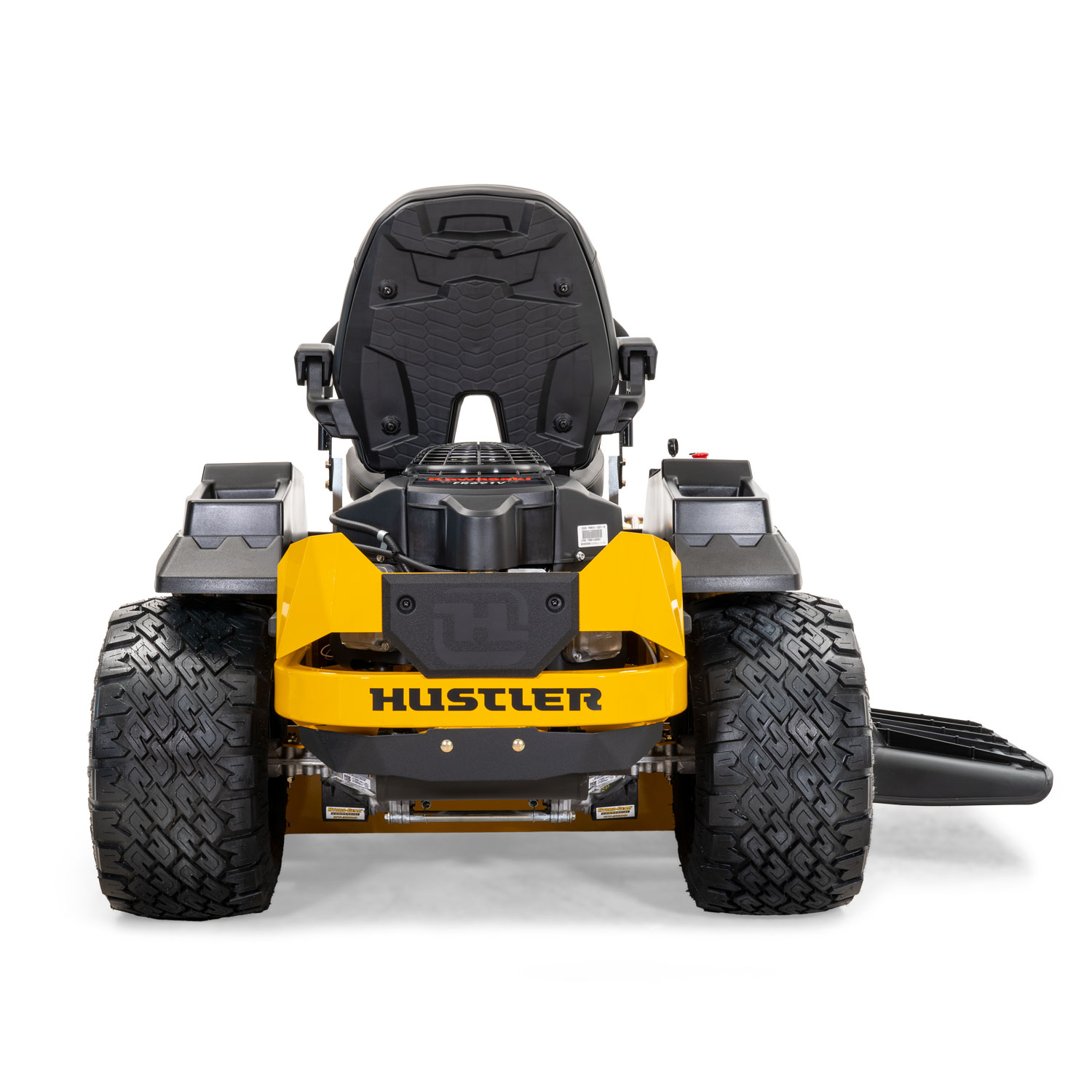 Image of the rear of a yellow riding mower