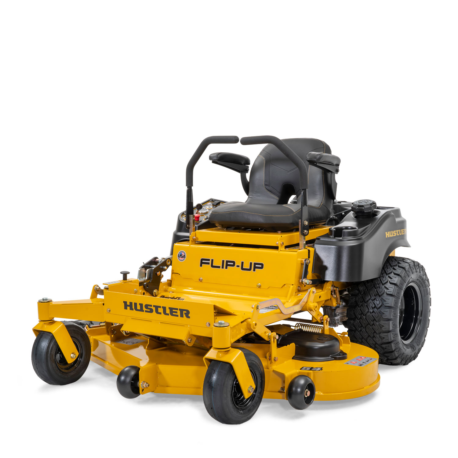 Image of the front three quarters of a yellow riding mower