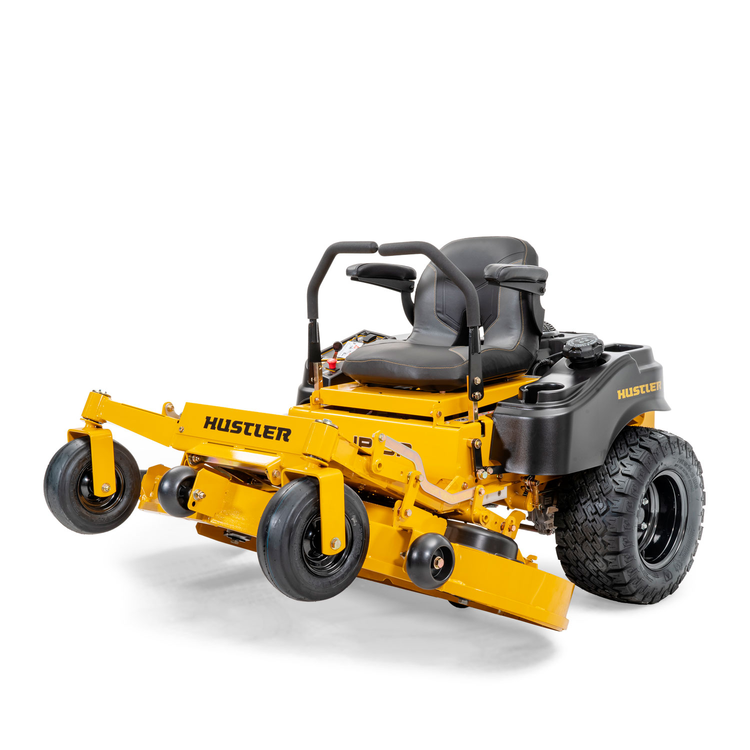 Image of the front of a yellow riding mower with the deck partially turned vertical and underside of the deck almost visible