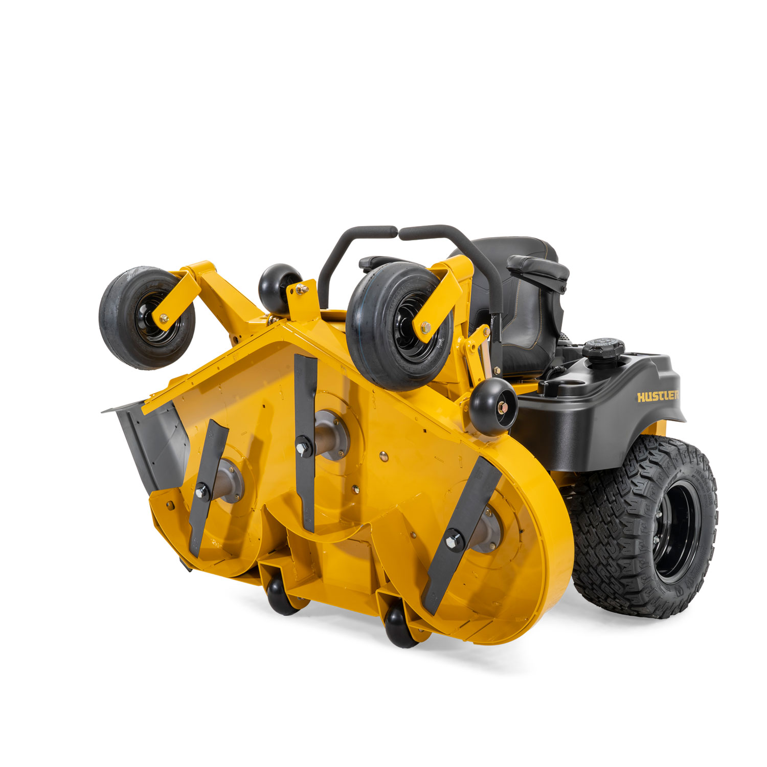 Image of the front of a yellow riding mower with the deck vertical and underside of the deck visible