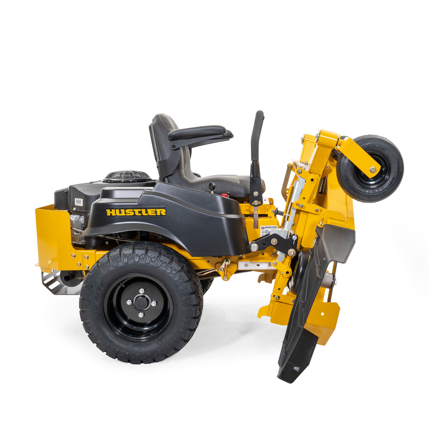 Image of the profile of a yellow riding mower with the frame and deck folded up