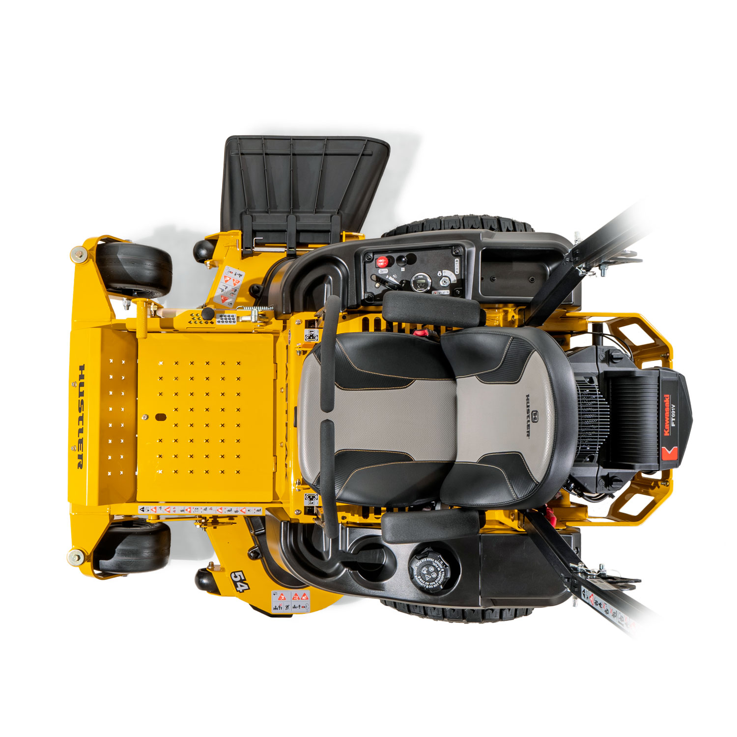 Image of a yellow mower from above