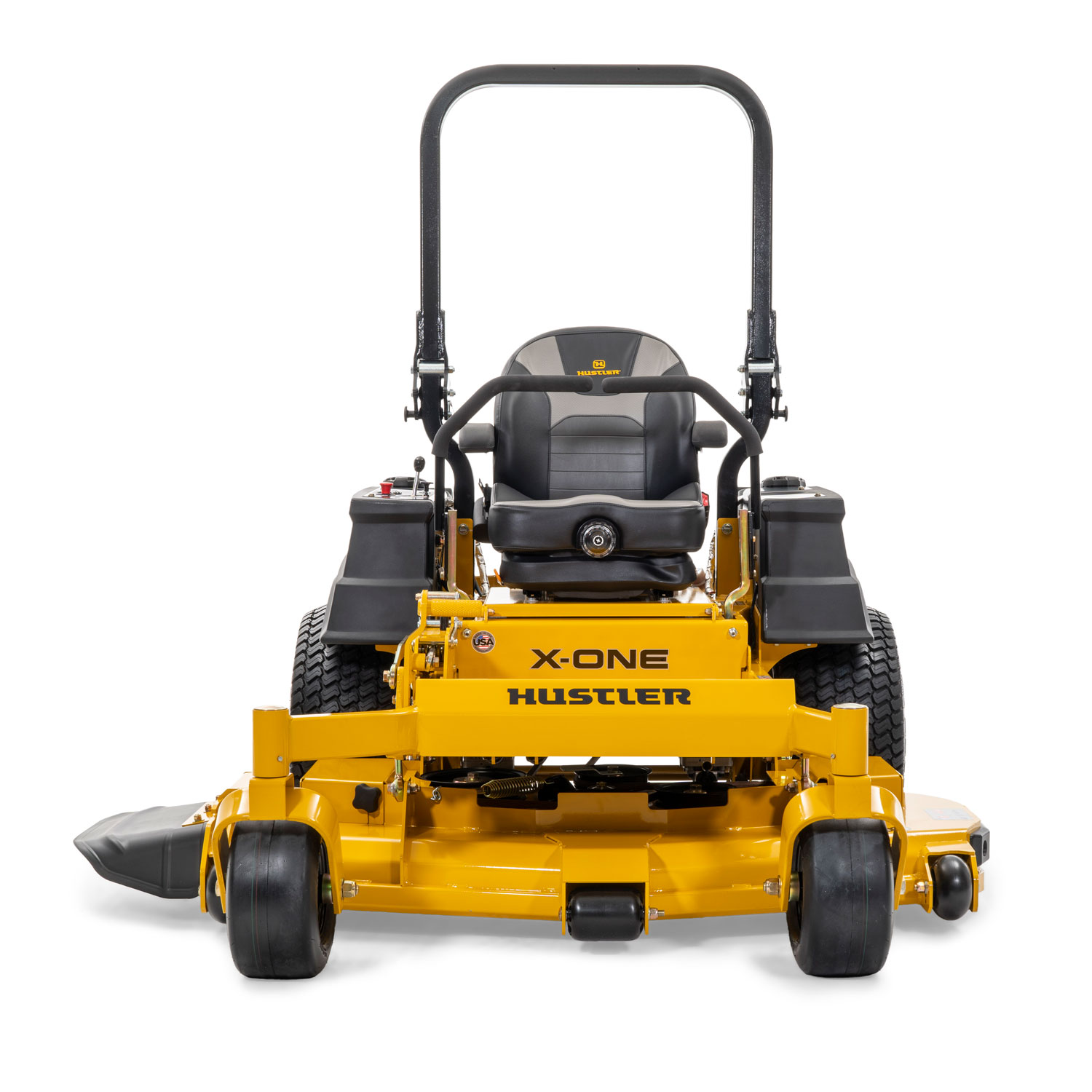 Image of the front of a yellow zero-turn mower