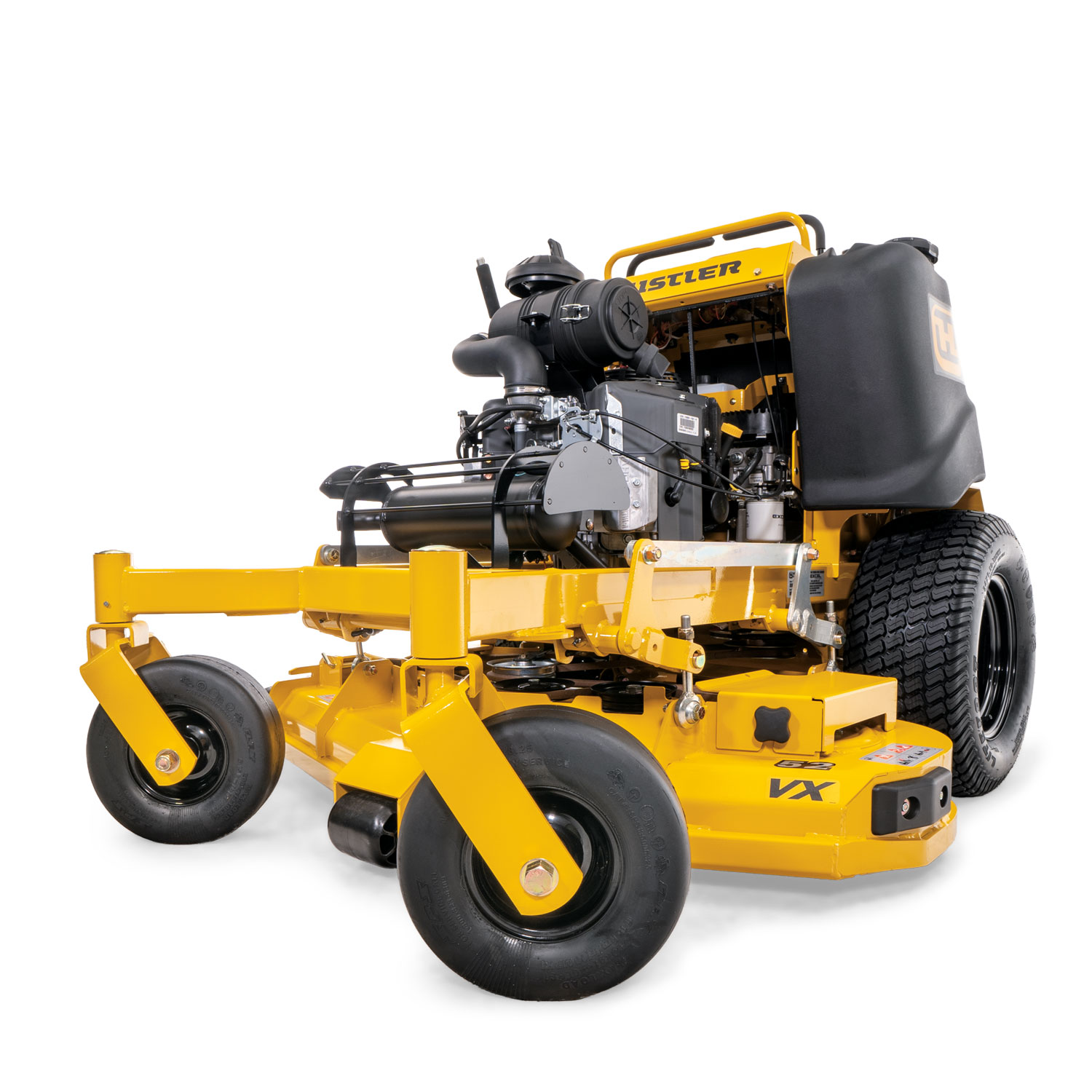Image of the front three quarters of a yellow stand-on mower