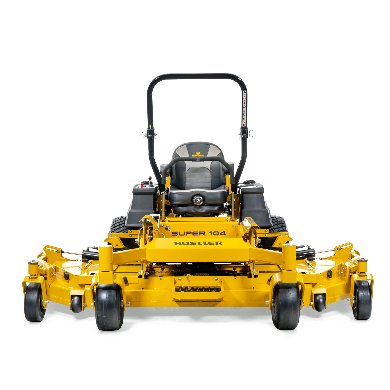 Image of the front of a yellow mower with fold out wing decks attached to the main deck