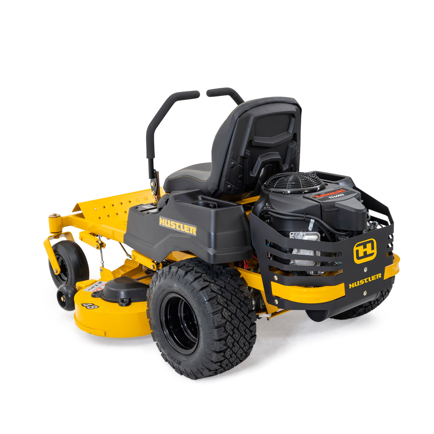 Image of the rear three quarters of a yellow mower showing the engine