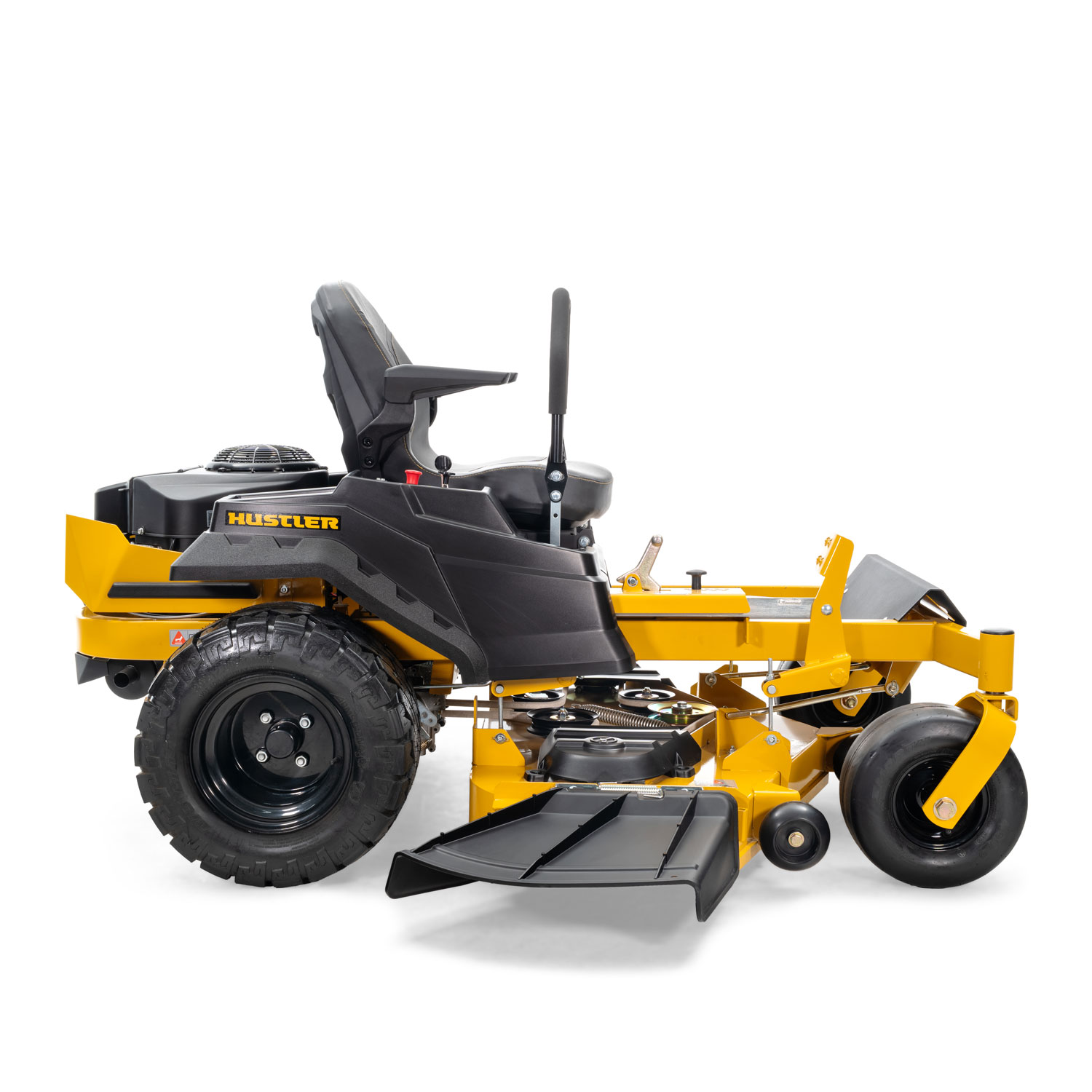 Image of the profile of a yellow Hustler mower