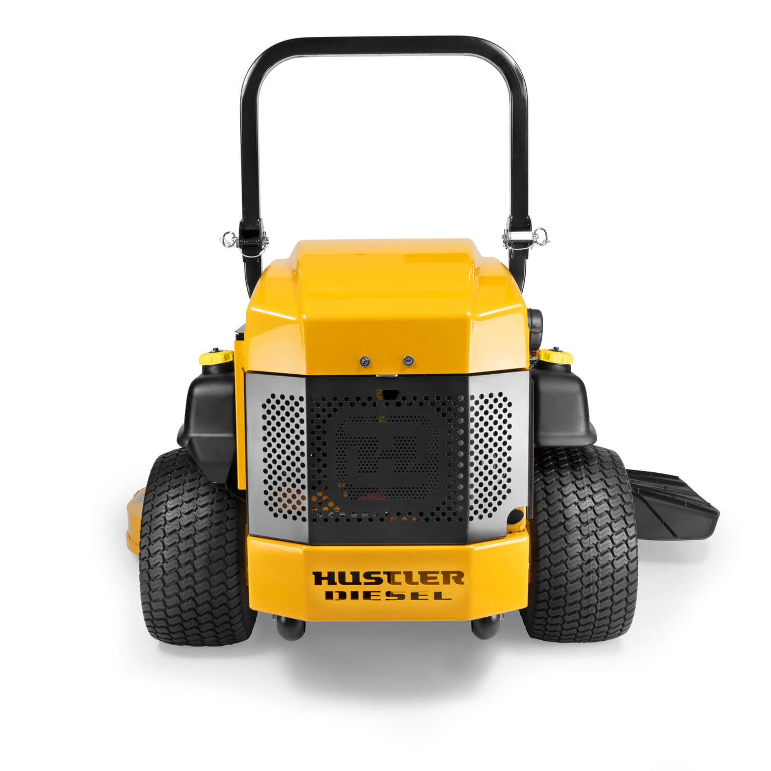 Image of the rear of a yellow mower