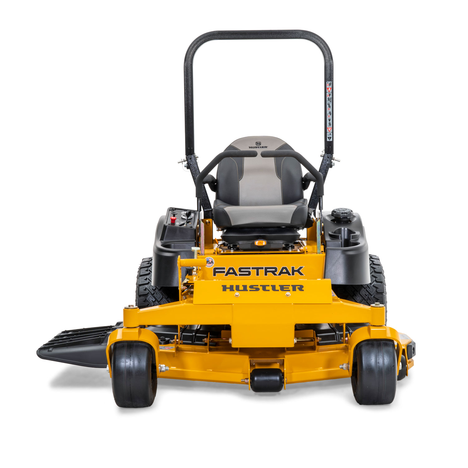 Image of front of a yellow riding mower