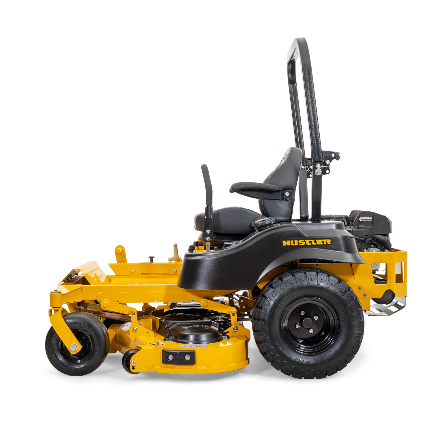 Image of profile of a yellow riding mower