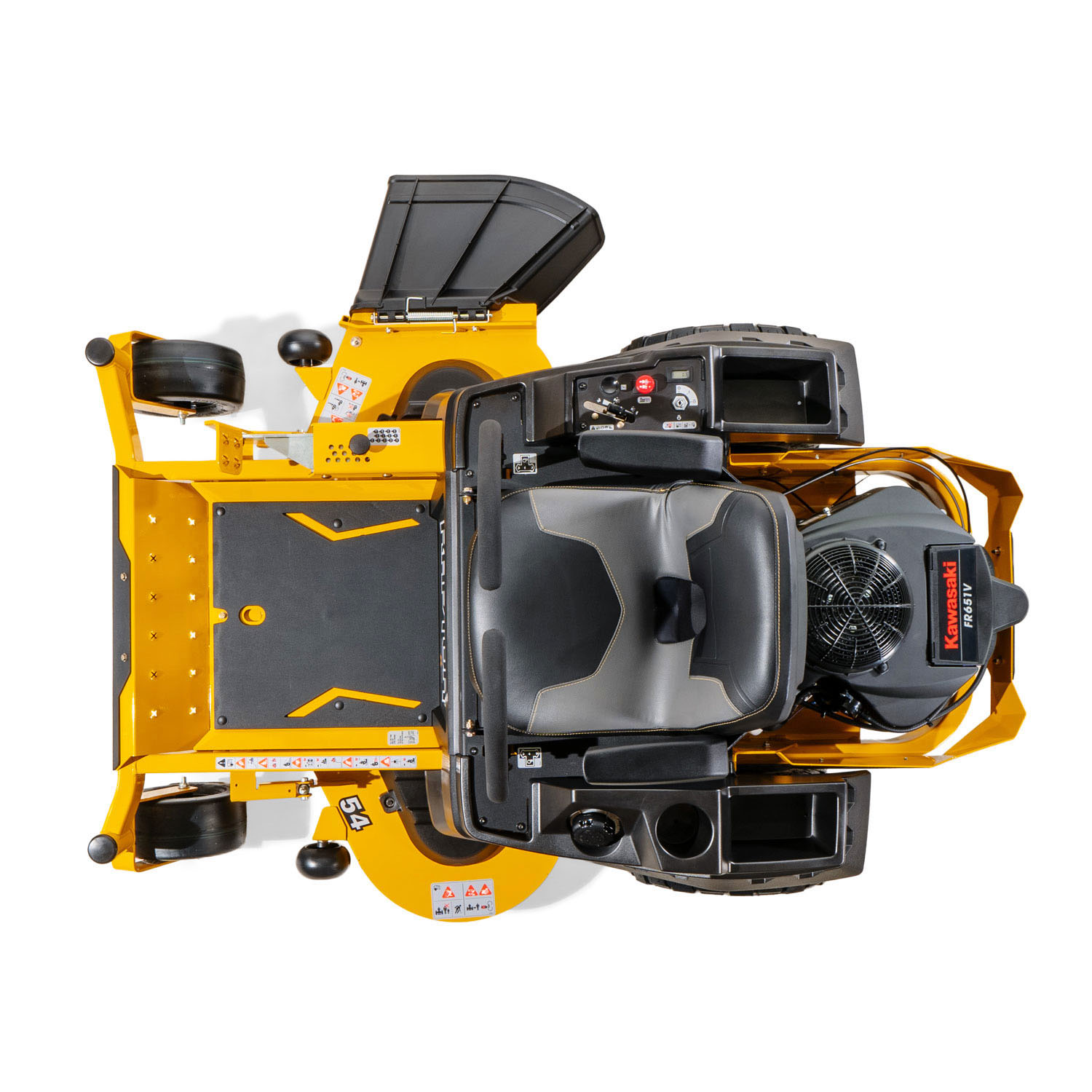 Image of a yellow Hustler mower from above