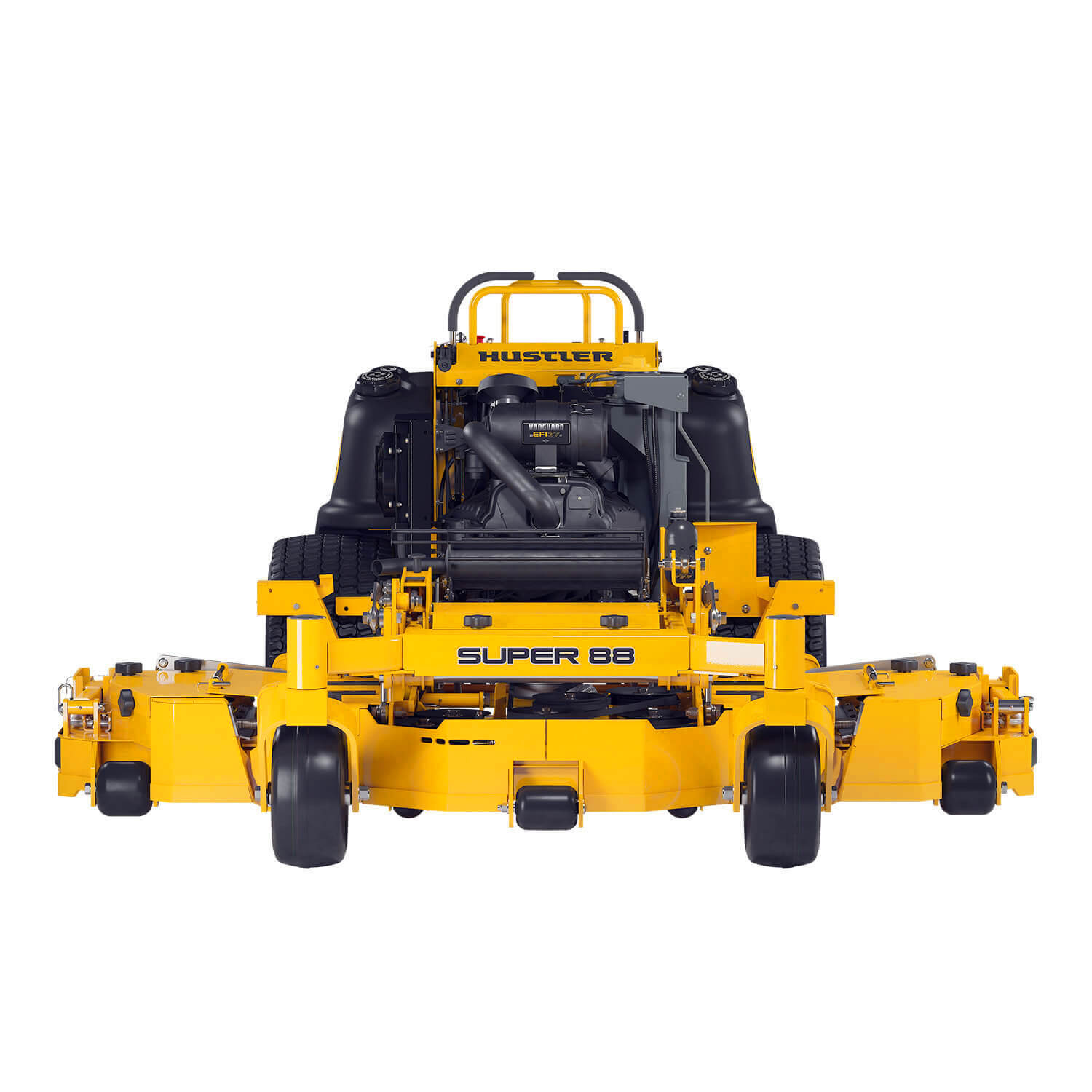Image of the front of a yellow stand-on mower with fold out wings attached to the deck