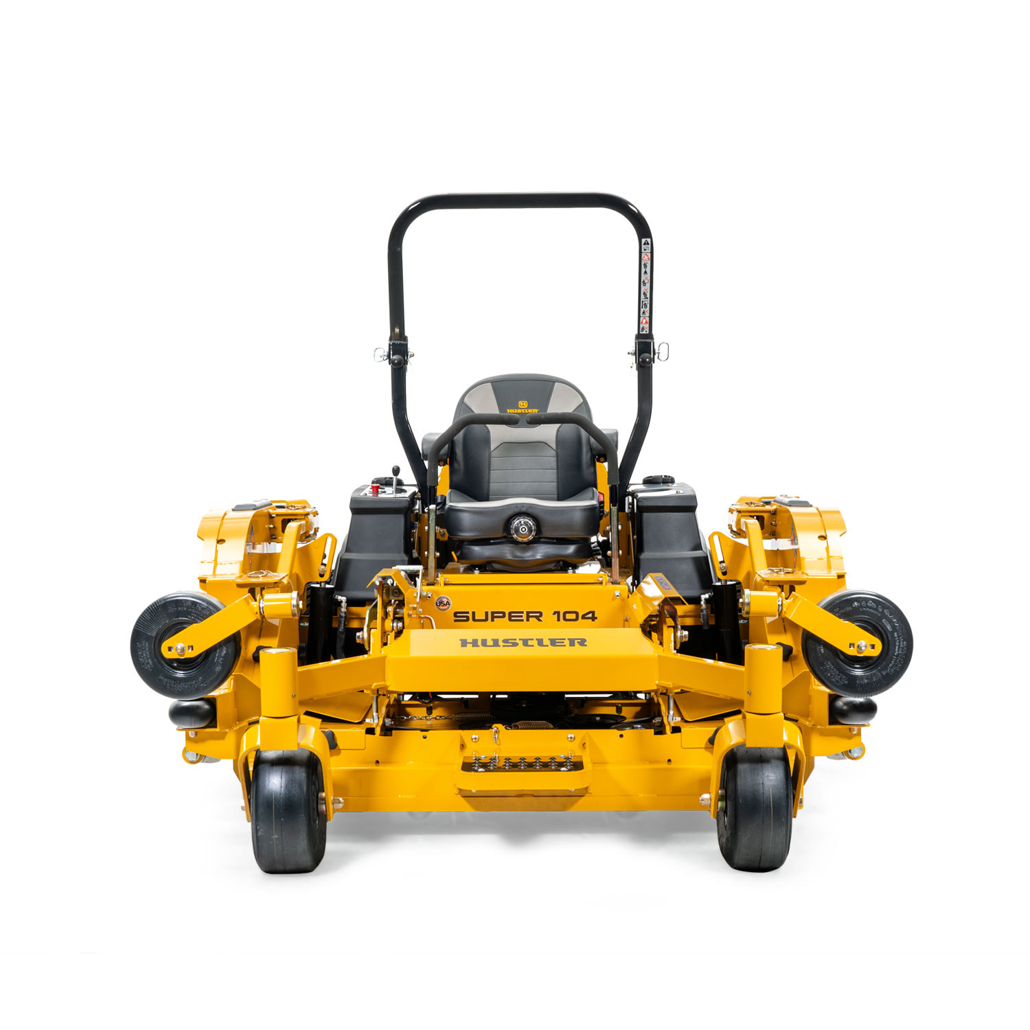 Image of the front of a yellow wide area mid-mount mower with folded up wing decks attached to the main deck