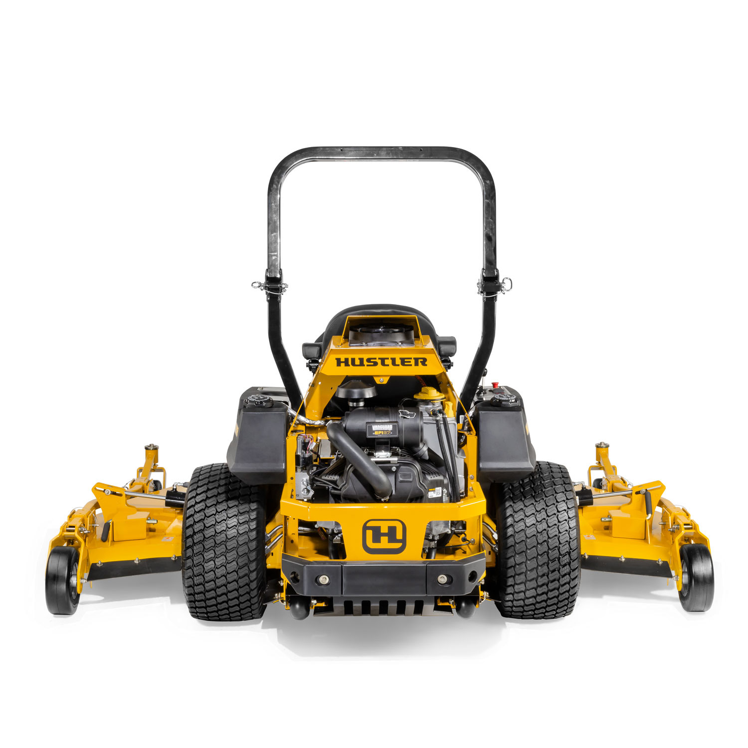 Image of the rear of a yellow wide area mid-mount mower