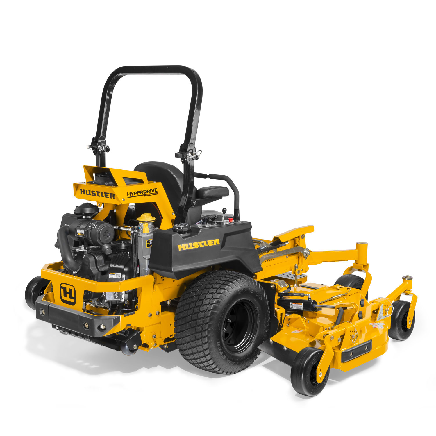 Image of the rear three quarters of a yellow wide area mid-mount mower