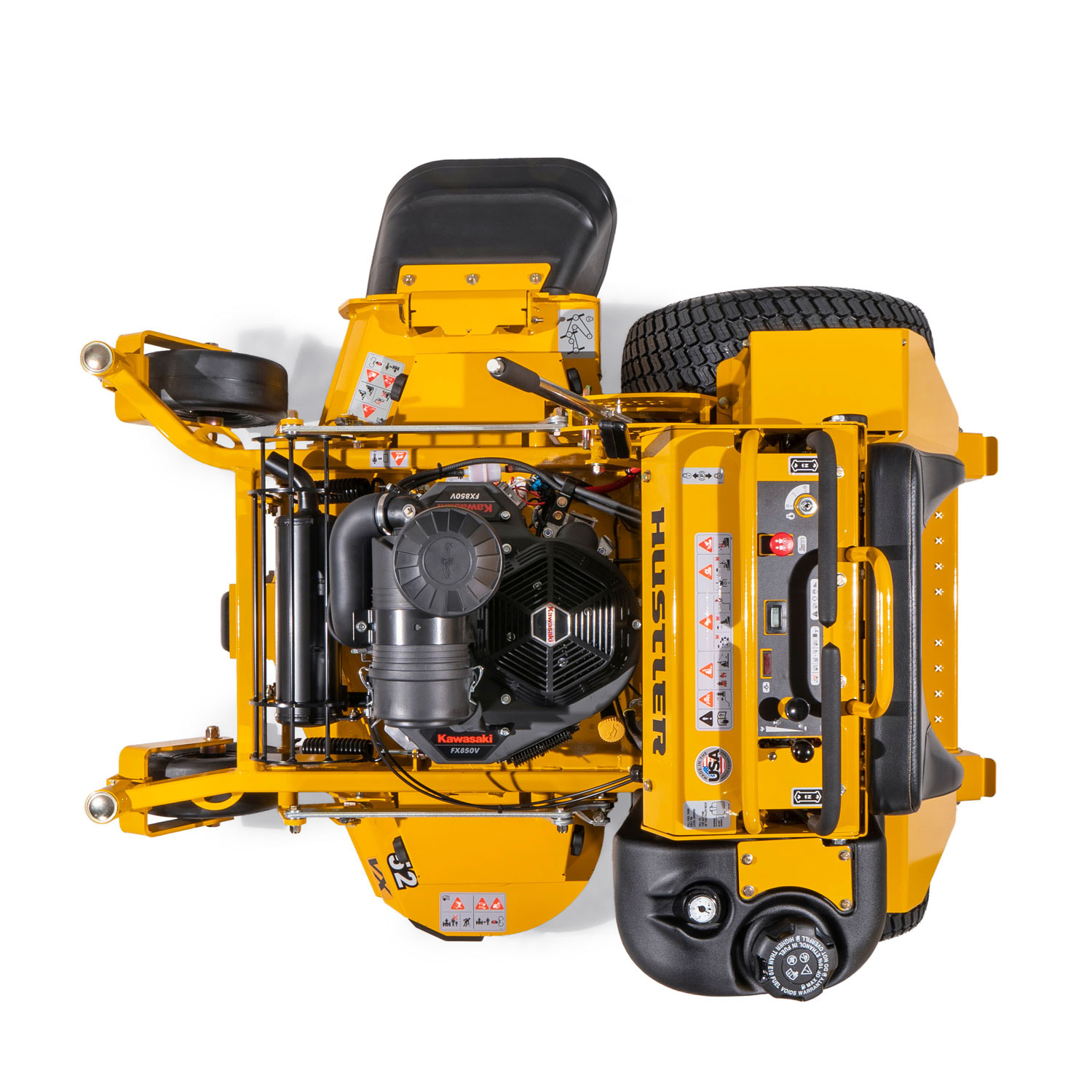 Image of a yellow stand-on mower from above