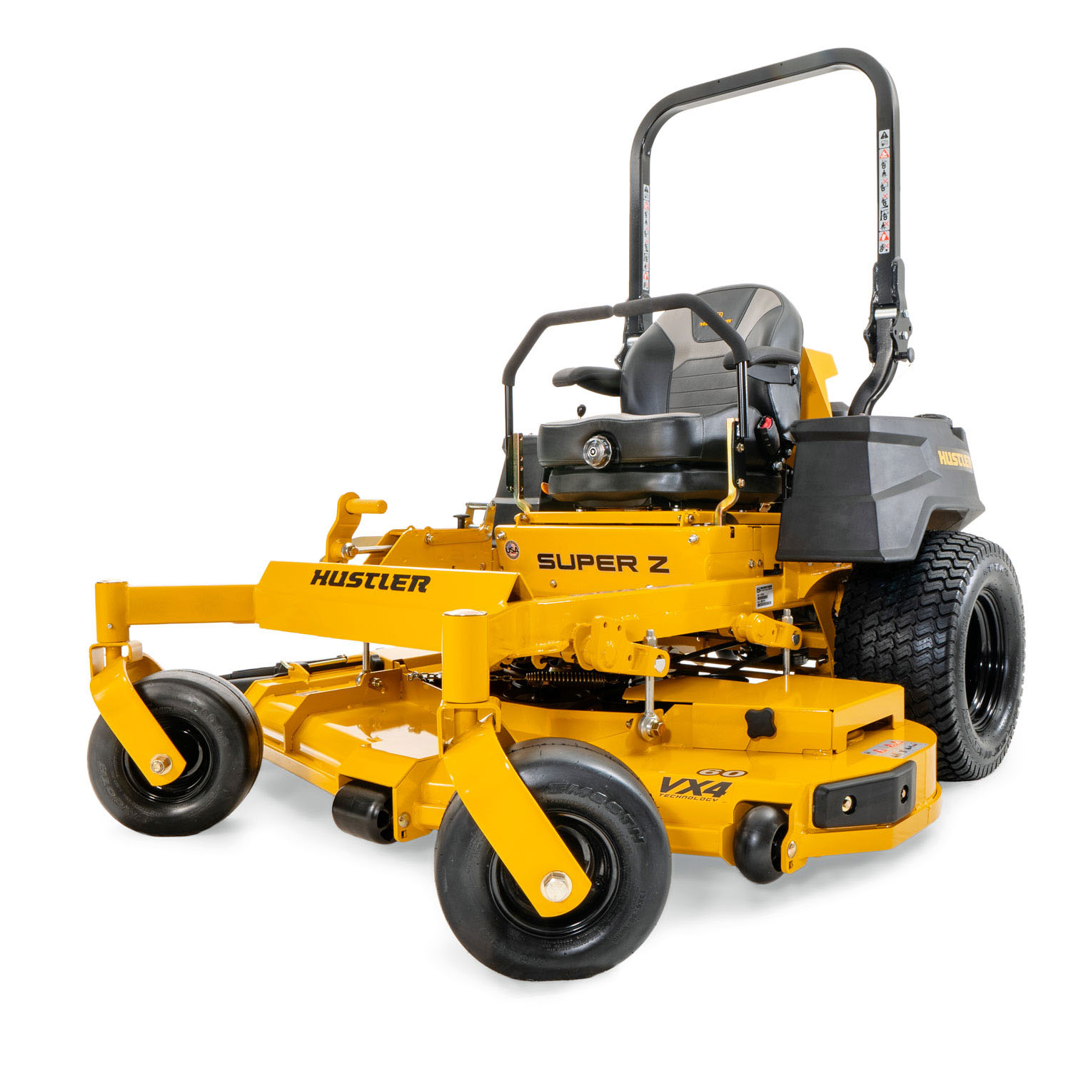 Image of the front three quarters of a yellow mower