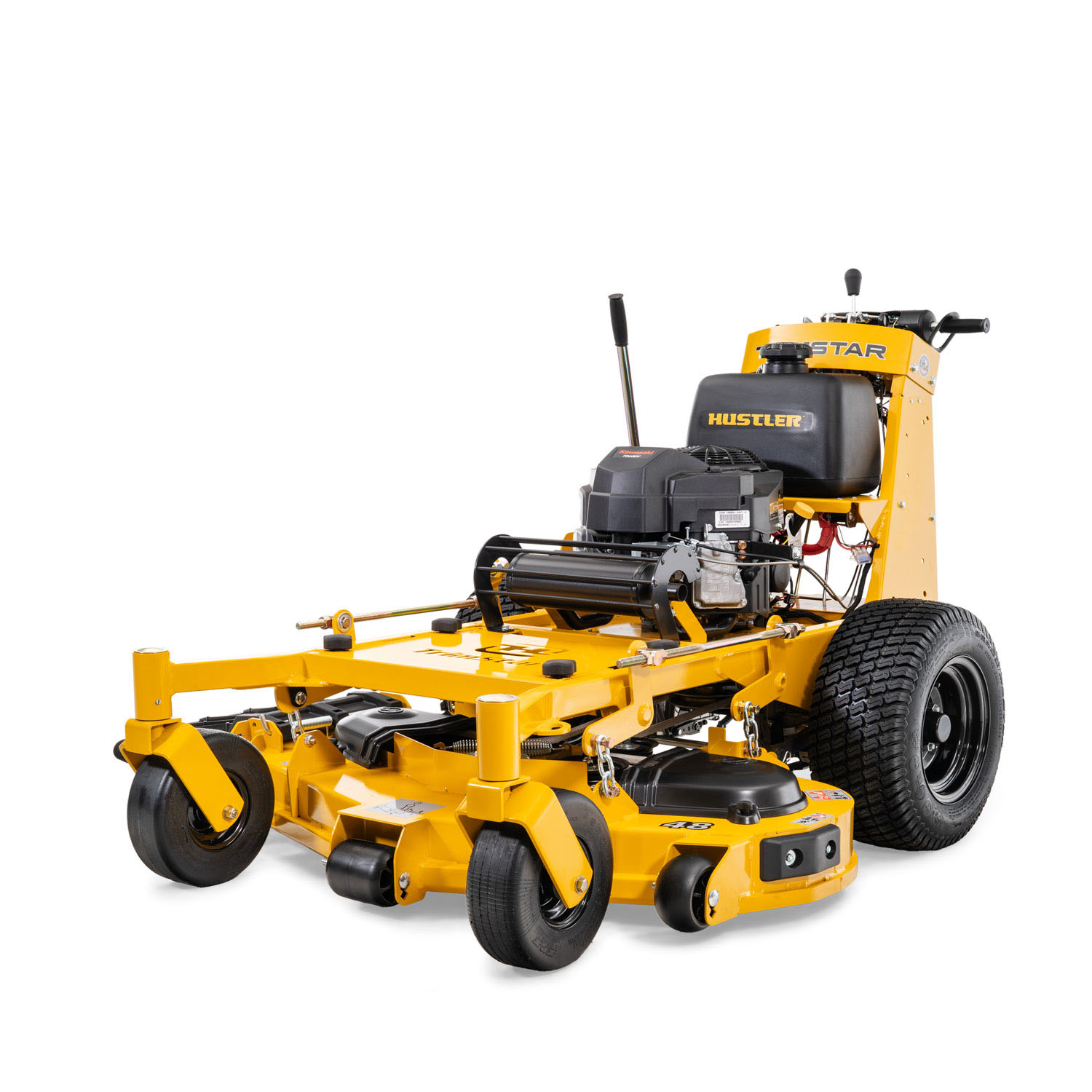 Image of the front three quarters of a yellow walk-behind mower