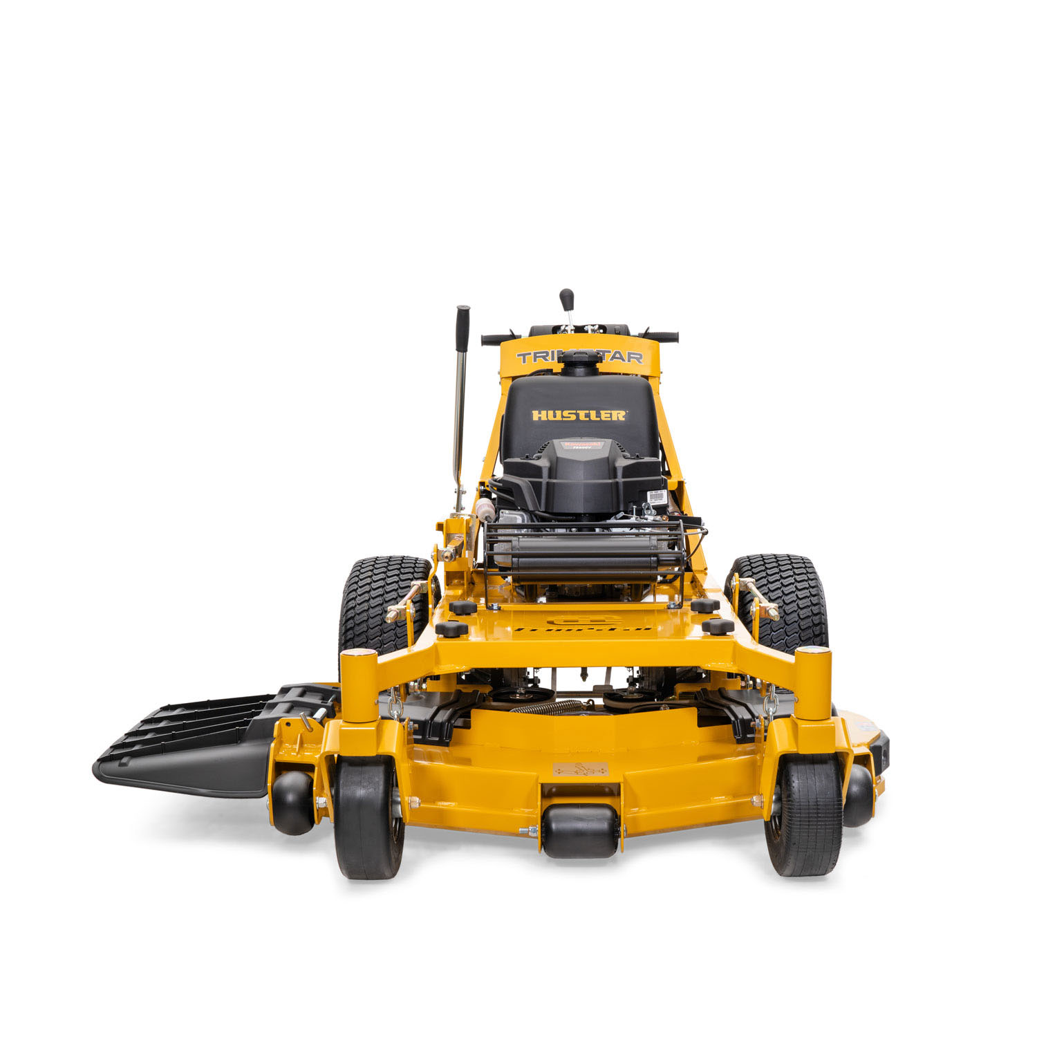 Image of the front of a yellow walk-behind mower