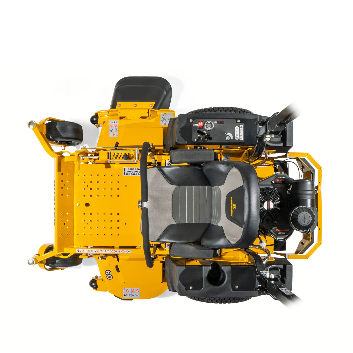Image of a yellow zero-turn mower from above