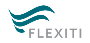 Blue Green Flexiti logo mark and gray text spelling flexiti