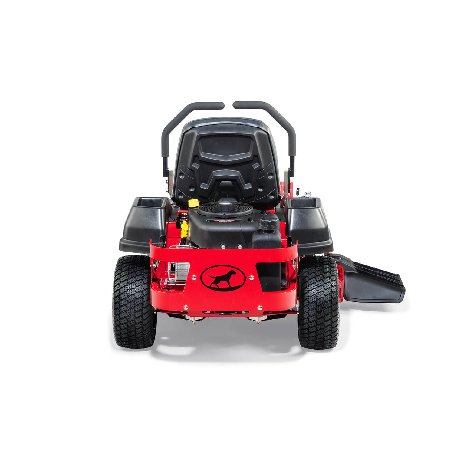 Image of the rear of a red mower showing the engine