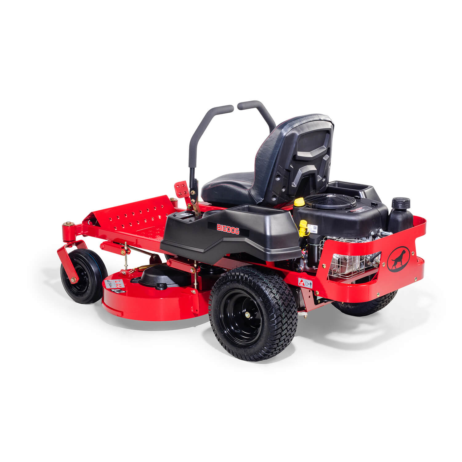 Image of the rear three quarters of a red mower showing the trim edge of the deck