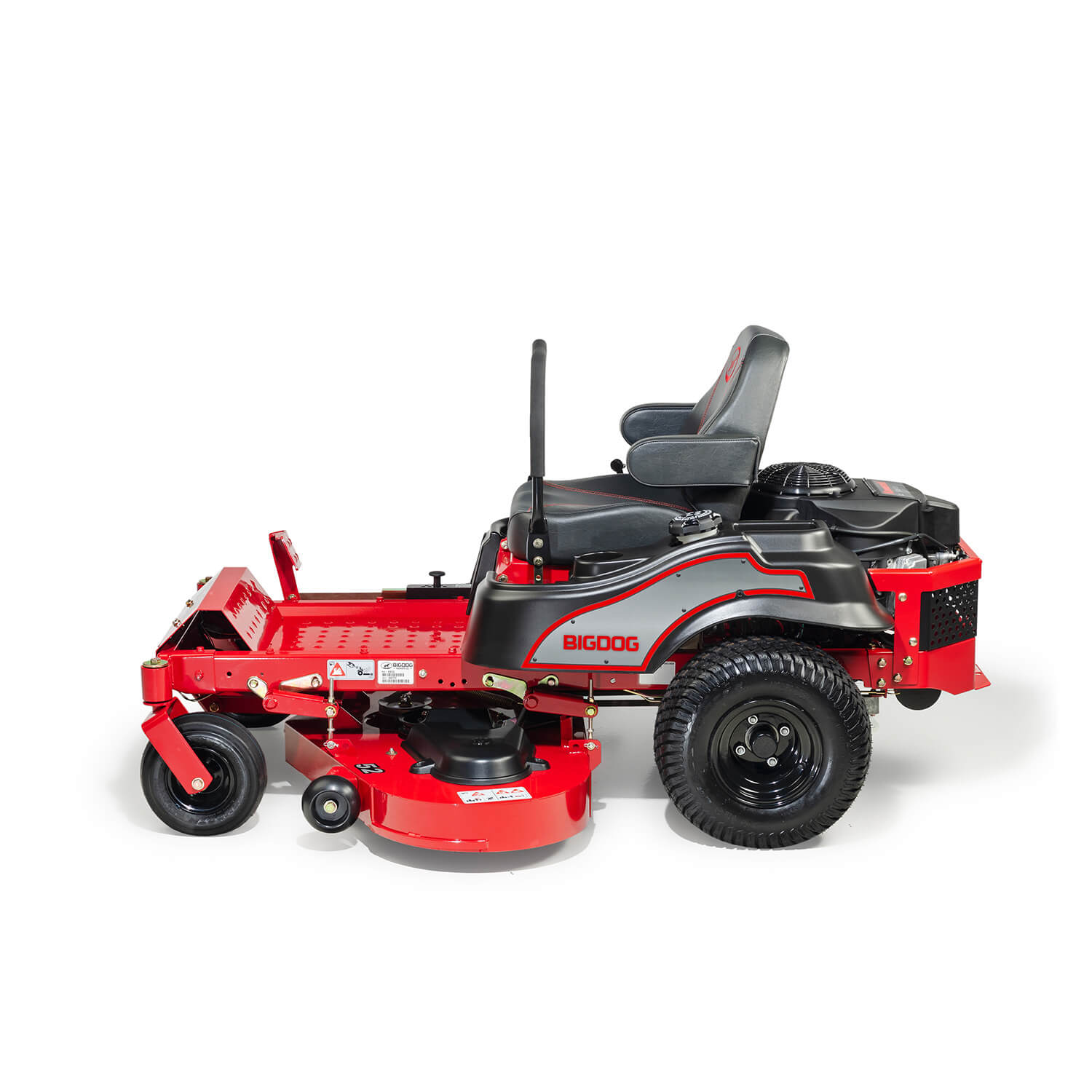 Image of the rear of a red BigDog mower