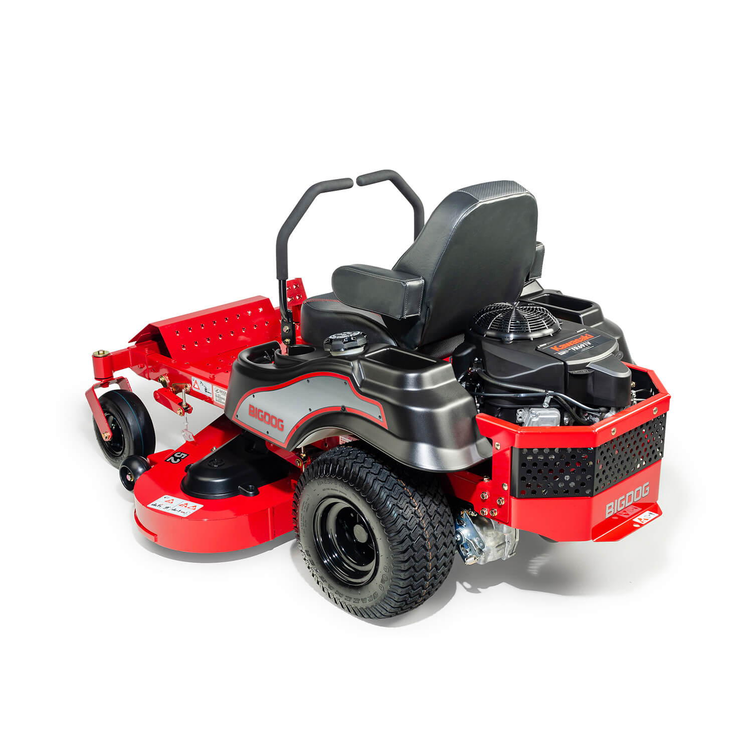 Image of the rear three quarters of a red BigDog mower