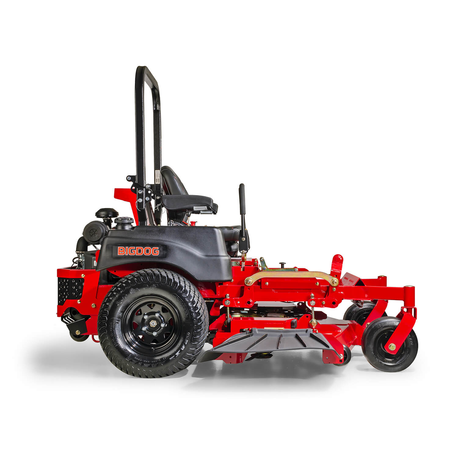Image of the profile of a red riding mower