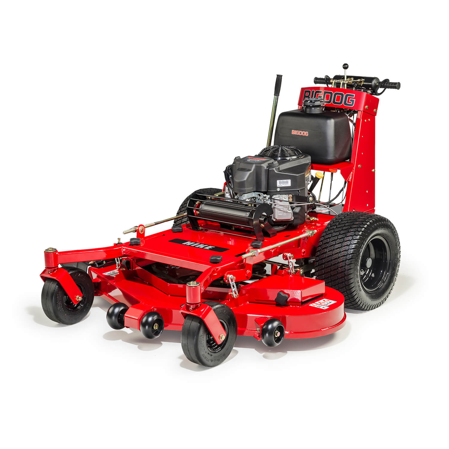 Image of the top of a red walk-behind mower