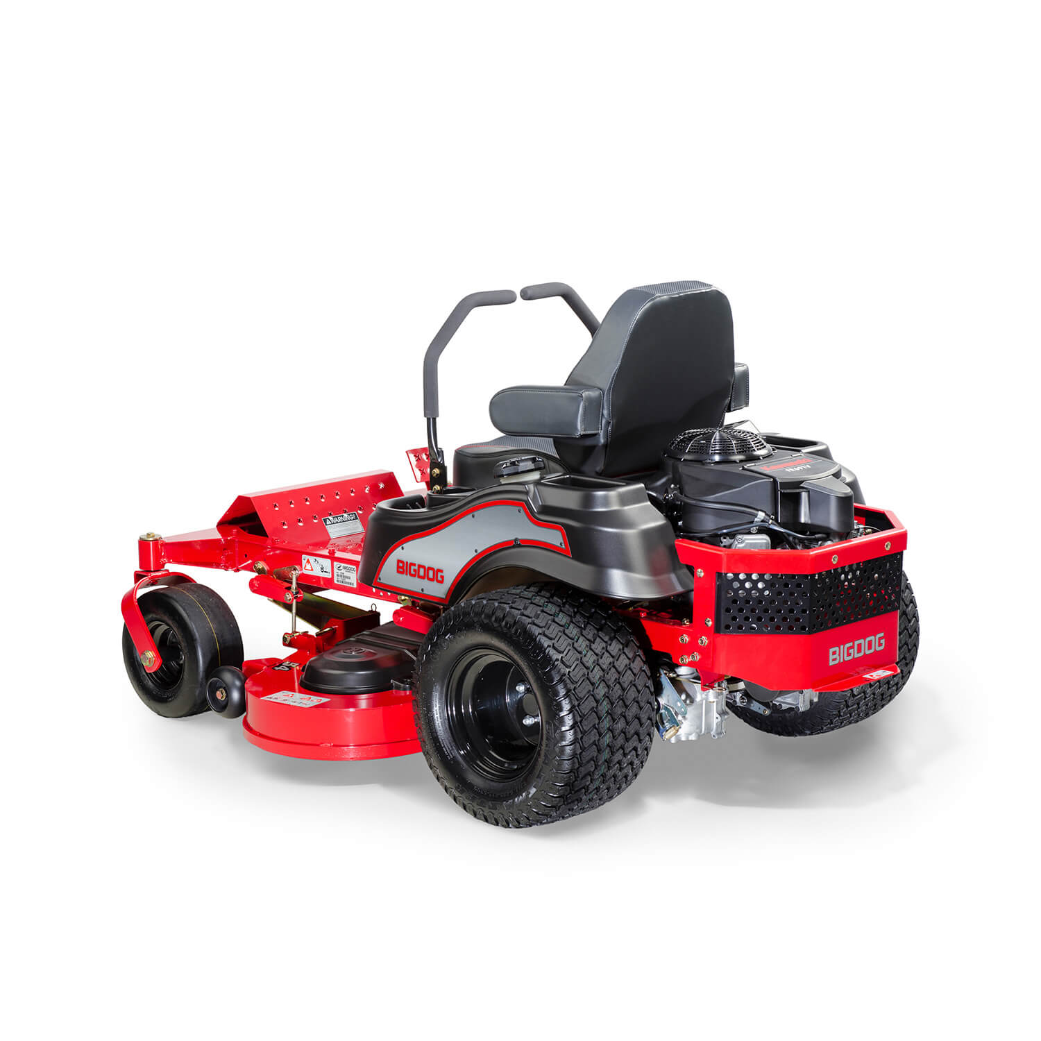 Image of the rear three quarters of a red riding mower