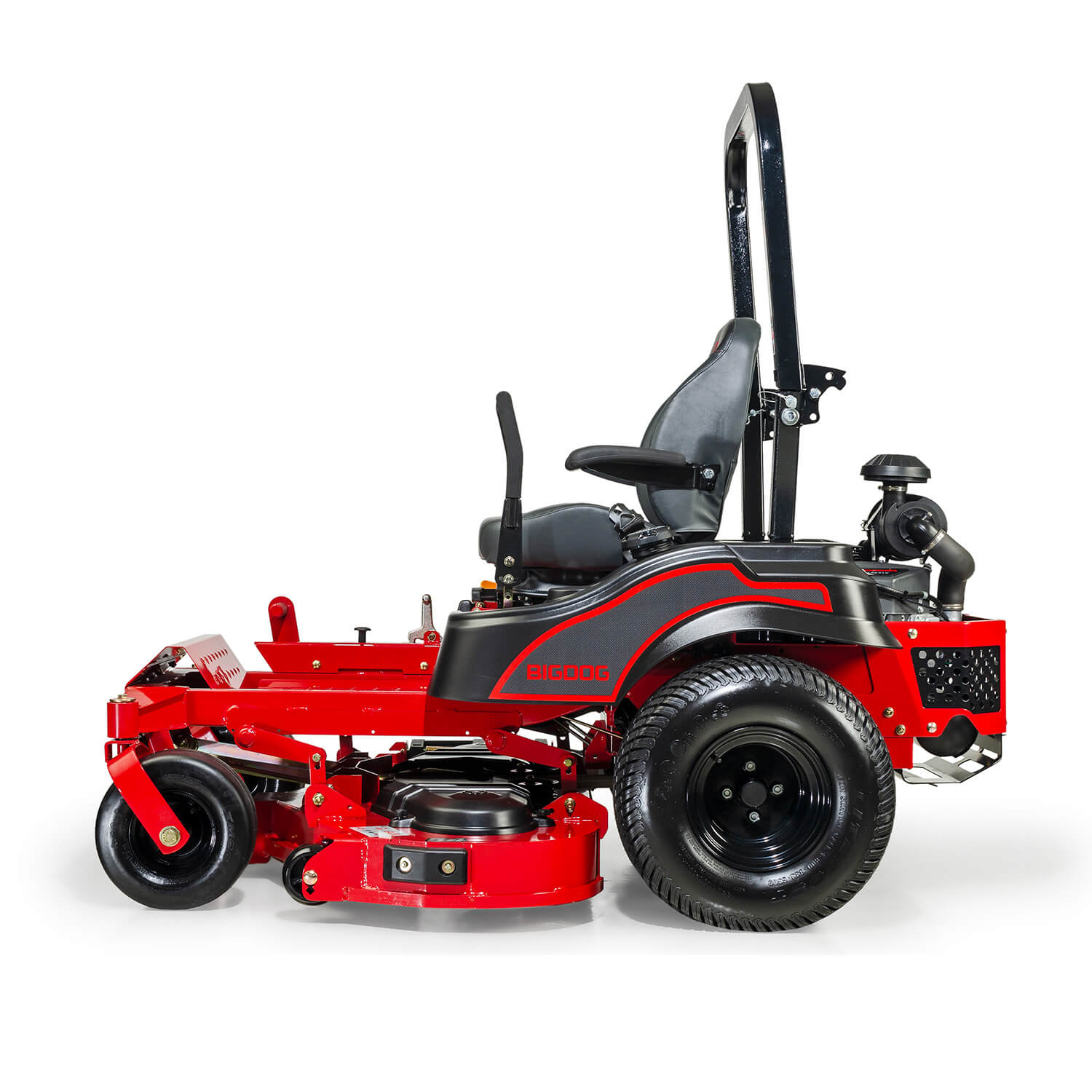 Image of the back of a red riding mower