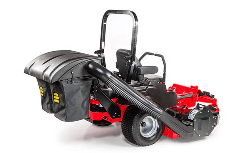 Image of a 2-bag grass catcher mounted on the back of a red mower