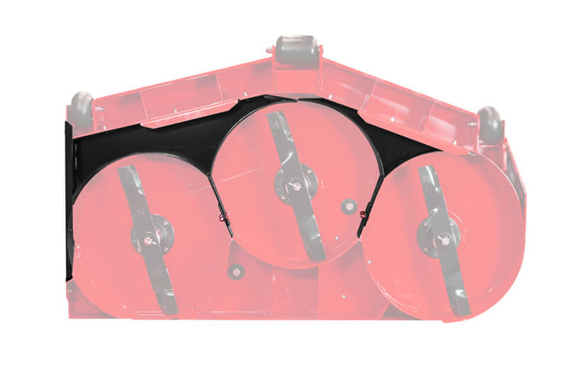 Image of the underside of a mower deck with black plates around mower blades
