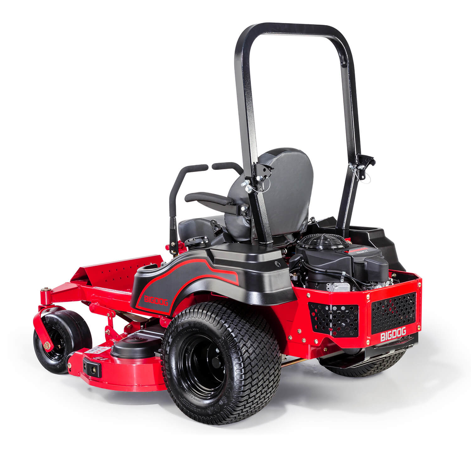 Image of rear 3 quarters of a red riding mower showing the trim edge of the deck