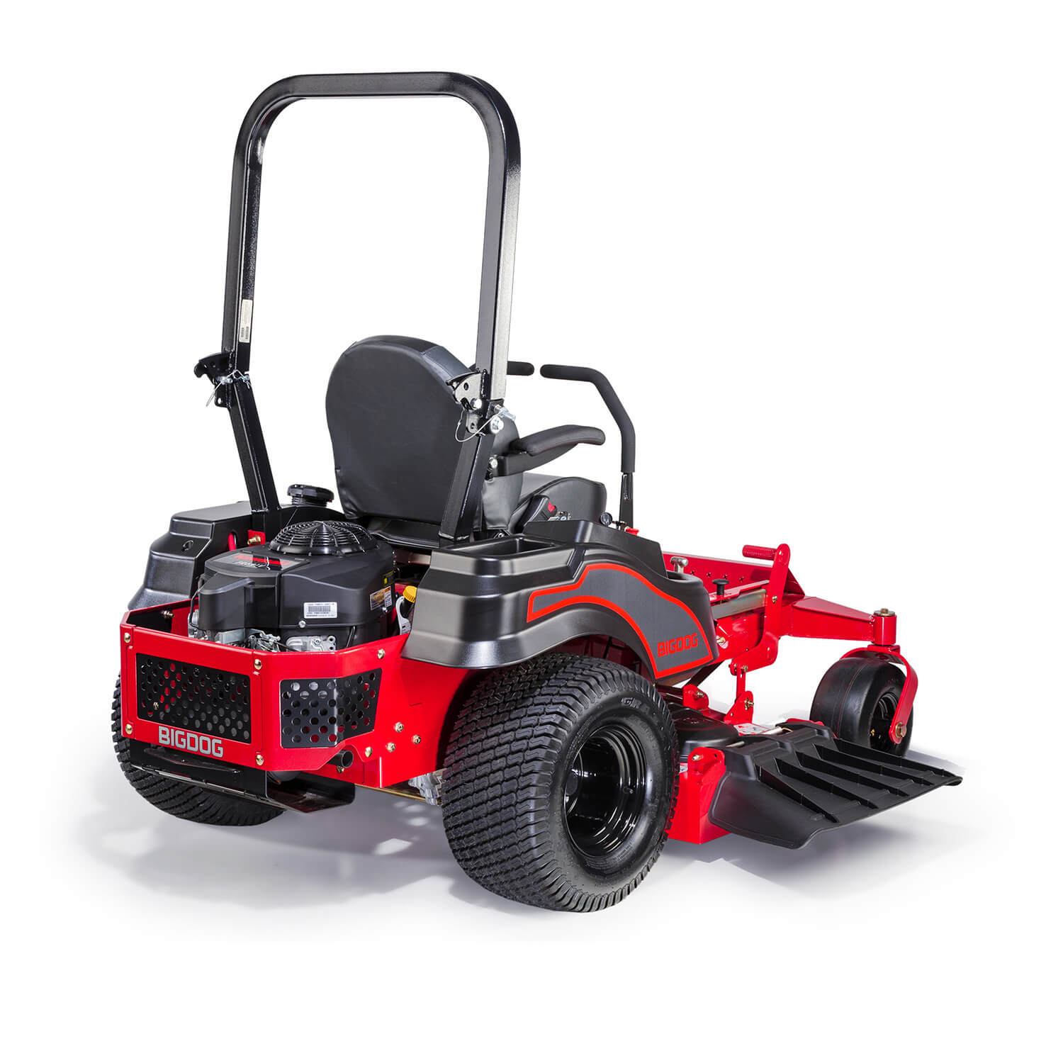 Image of the rear three quarters of a red riding mower showing the discharge side of the deck
