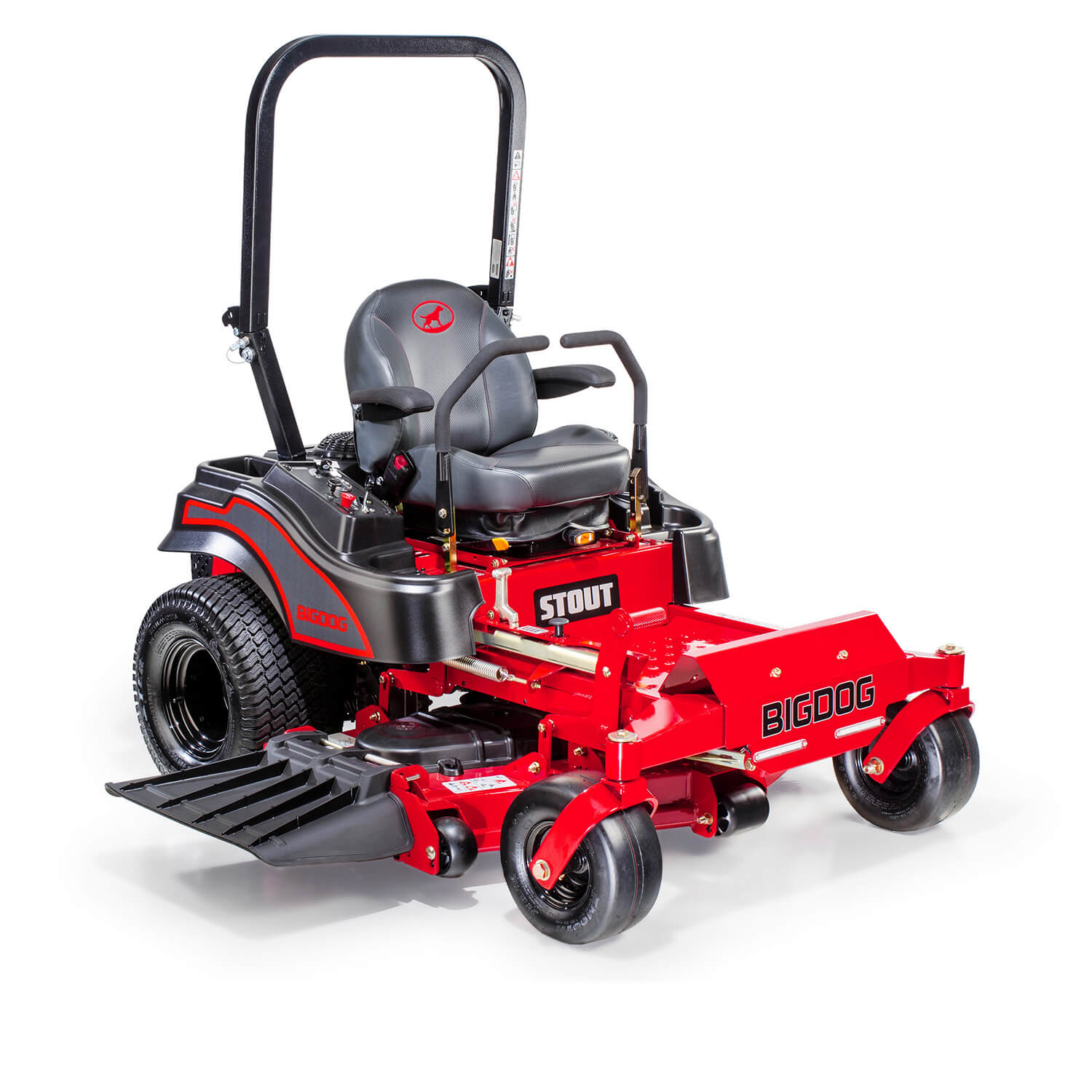 Image of the front three quarters of a red riding mower