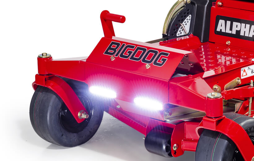 Image of the front frame of a red riding mower