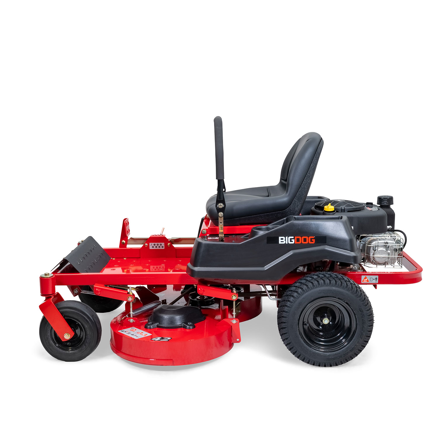 Image of the trim side of a red mower