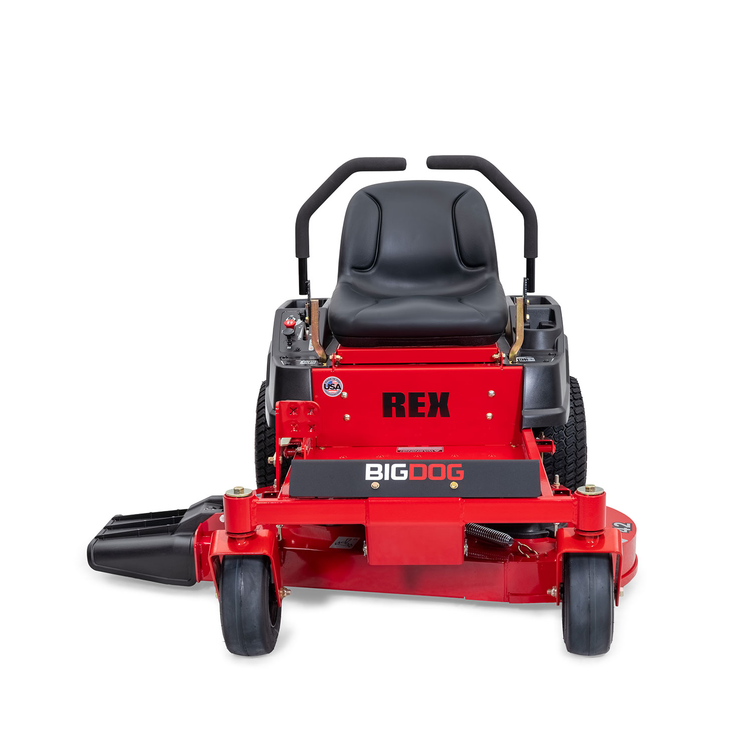 Front of a red zero-turn mower on a white background