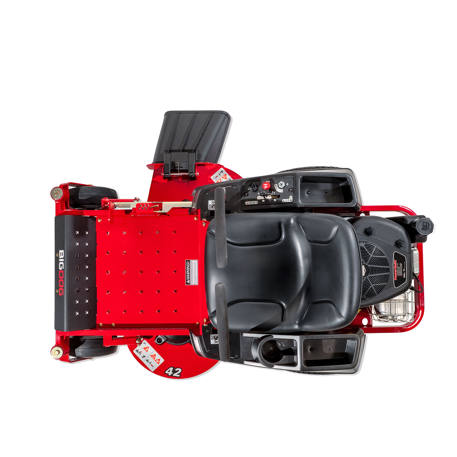 A red zero-turn mower on a white background from above