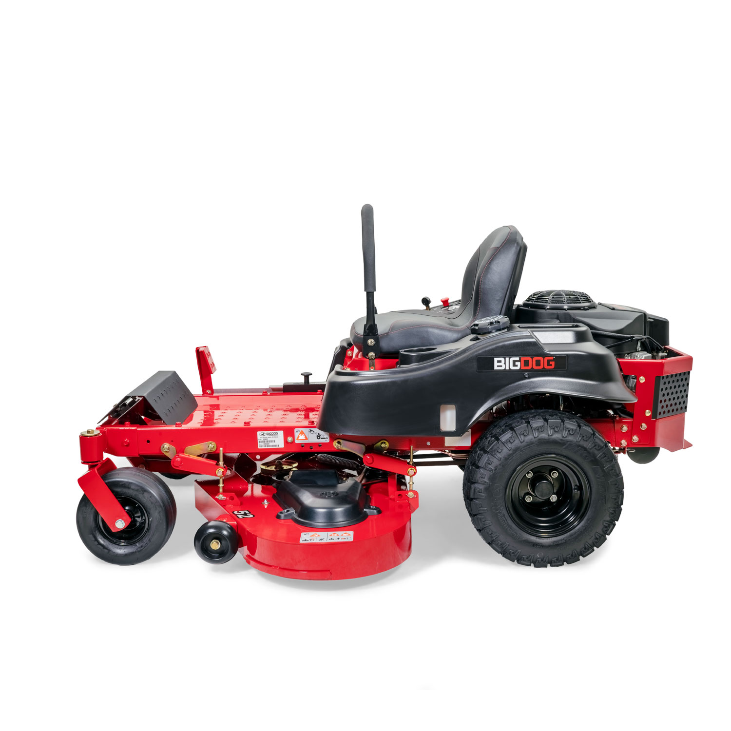 Image of the side of a red BigDog mower