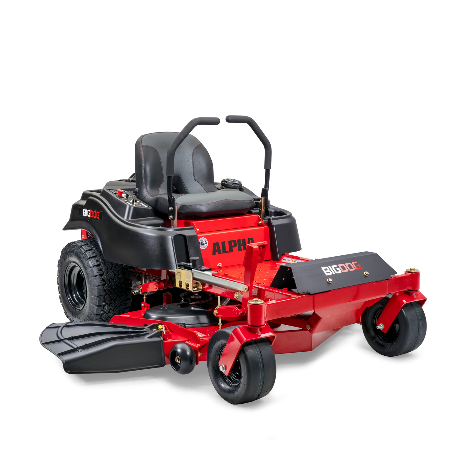 Image of the front three quarters of a red BigDog mower