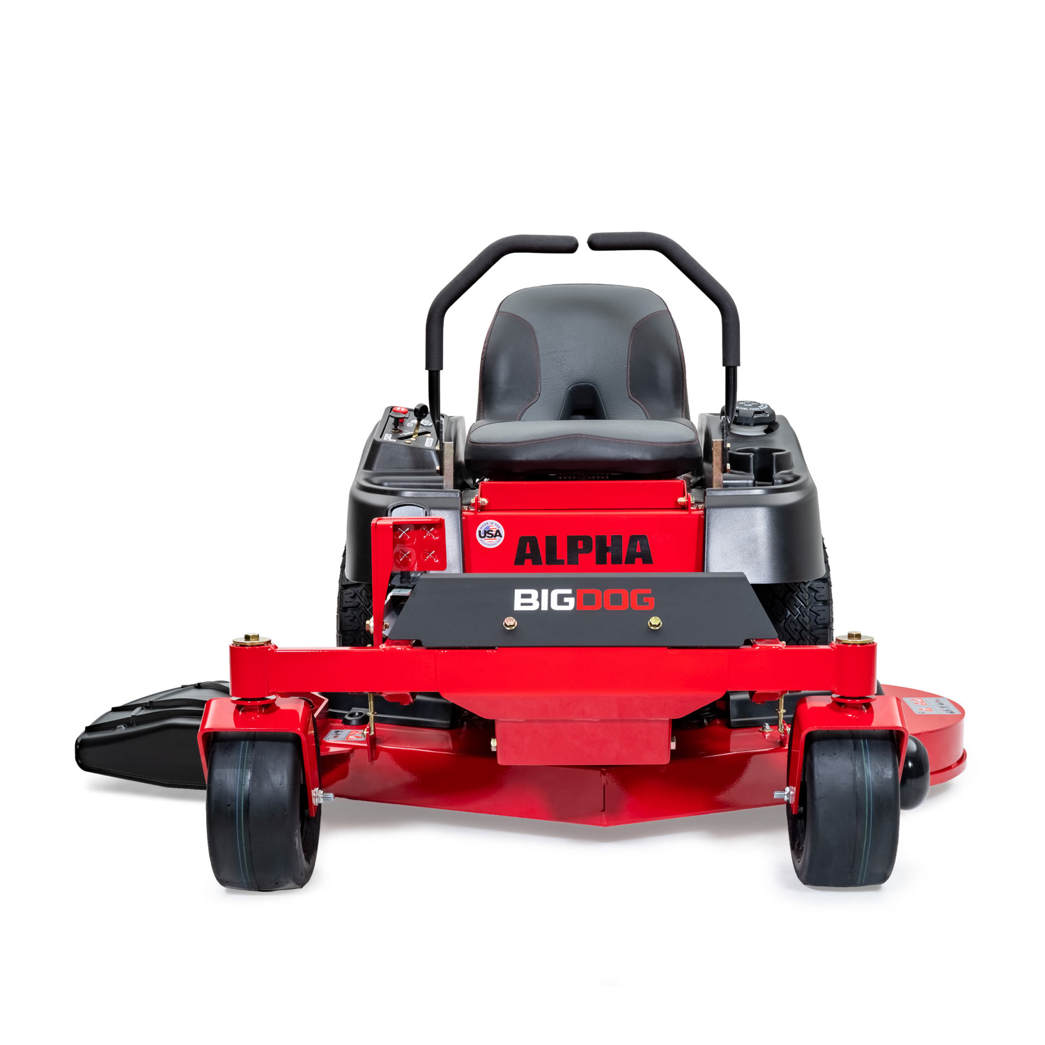 Image of the front of a red BigDog mower