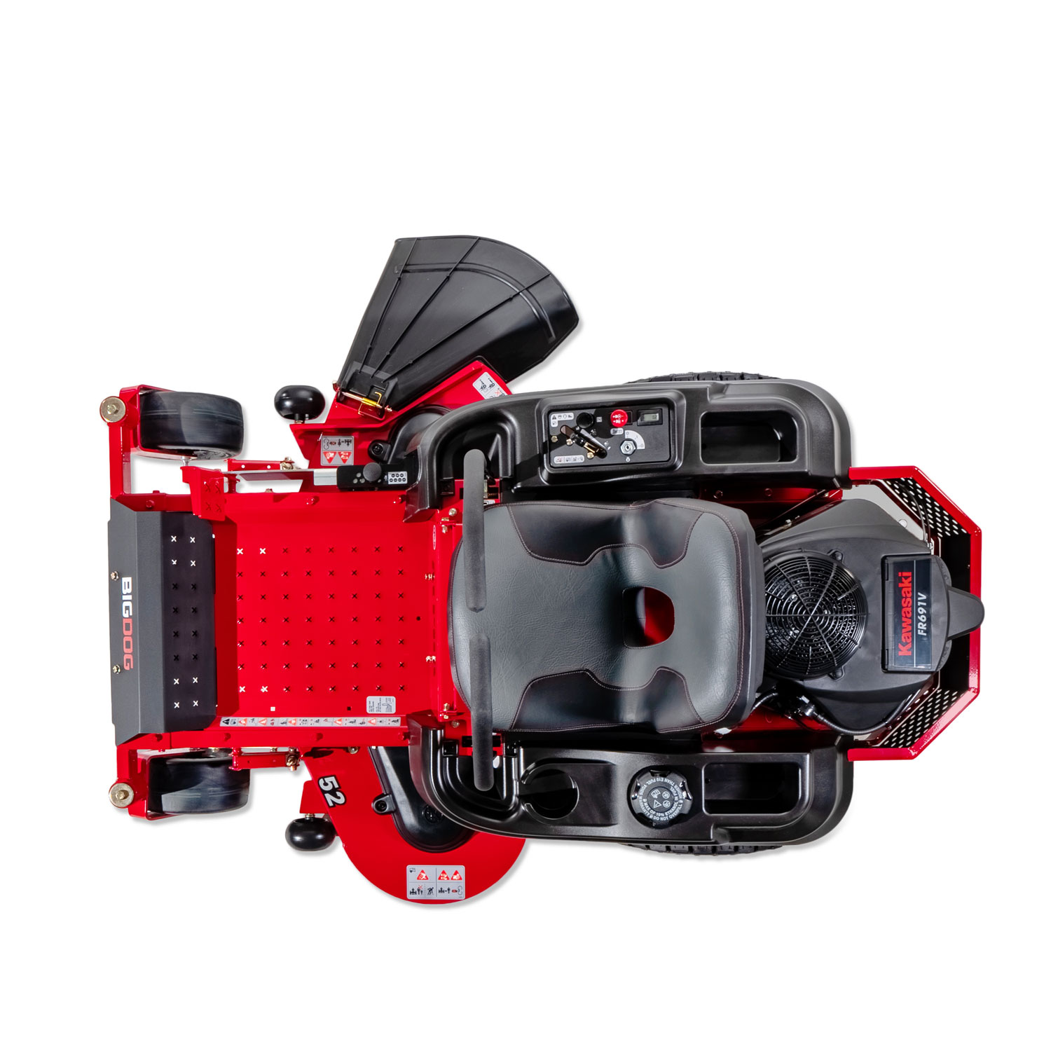 Image of a red BigDog mower from above on a white background